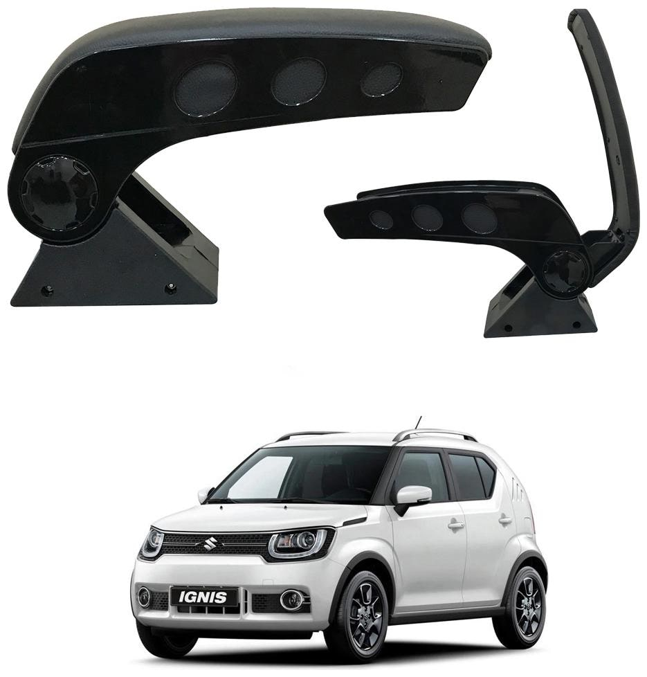 Oshotto Dual Tone Car Armrest Console Dark Black   Chrome for Maruti Ignis by Goel Enterprises