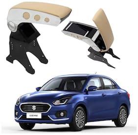 Oshotto Dual Tone Car Armrest Console Beige & Chrome Compatible with Maruti Suzuki Swift Dzire 2012-2020