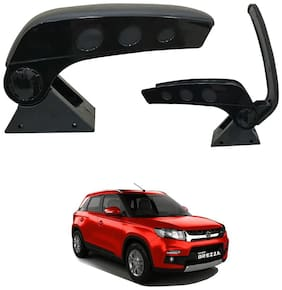 Oshotto Dual Tone Car Armrest Console Dark Black & Chrome for Maruti Brezza