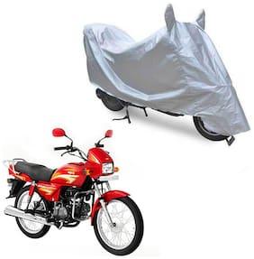 Oshotto Dust Proof Water Resistant Double Mirror Pocket Silvertech Bike Body Cover for Hero Splendor Plus (Silver)
