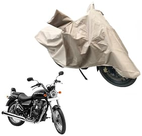 Oshotto Dust and Water Proof Double Mirror Pocket X1 Bike Body Cover Compatible with Royal Enfield Thunderbird 350 (Brown)