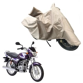 Oshotto Dust and Water Proof Double Mirror Pocket X1 Bike Body Cover for Bajaj Ct 100 (Brown)