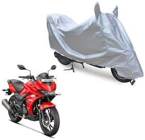 Oshotto Dust Proof Water Resistant Double Mirror Pocket Silvertech Bike Body Cover Compatible with Hero Xtreme 200S (Silver)