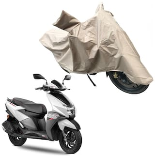 Oshotto Dust and Water Proof Double Mirror Pocket X1 Bike Body Cover Compatible with Tvs Ntorq 125 (Brown)