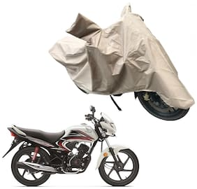 Oshotto Dust and Water Proof Double Mirror Pocket X1 Bike Body Cover Compatible with Honda Dream Yuga (Brown)