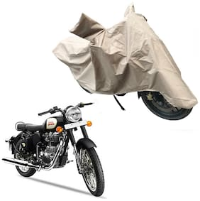 Oshotto Dust and Water Proof Double Mirror Pocket X1 Bike Body Cover Compatible with Royal Enfield Classic 350 (Brown)