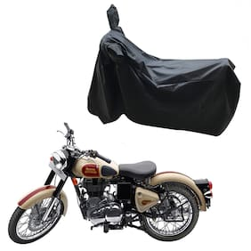 Oshotto Dust and Water Proof Double Mirror Pocket Leatherite Bike Body Cover for Royal Enfield Classic 500 (Black)