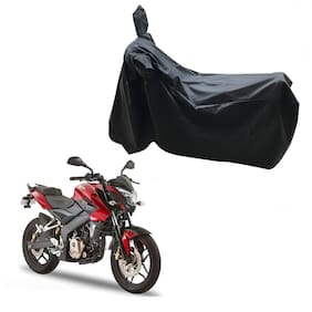 Oshotto Dust and Water Proof Double Mirror Pocket Leatherite Bike Body Cover for Bajaj Pulsar 180 (Black)