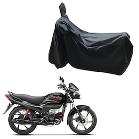 Oshotto Dust and Water Proof Double Mirror Pocket Leatherite Bike Body Cover for Hero Passion PRO i3s (Black)