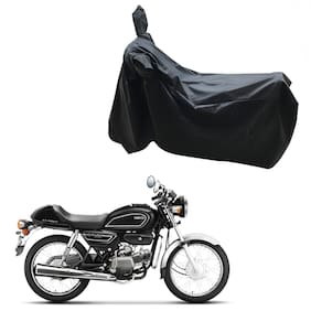 Oshotto Dust and Water Proof Double Mirror Pocket Leatherite Bike Body Cover for Hero Splendor Pro Classic (Black)
