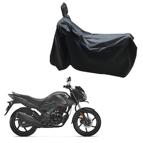 Oshotto Dust and Water Proof Double Mirror Pocket Leatherite Bike Body Cover for Honda Cb Unicorn (Black)