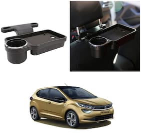 Oshotto Foldable Car Auto Headrest Rear Back Seat Table Drink Food Cup Tray Holder Compatible with Tata Altroz - Black