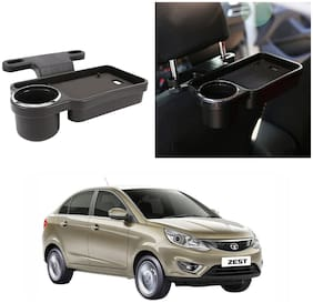 Oshotto Foldable Car Auto Headrest Rear Back Seat Table Drink Food Cup Tray Holder Compatible with Tata Zest - Black