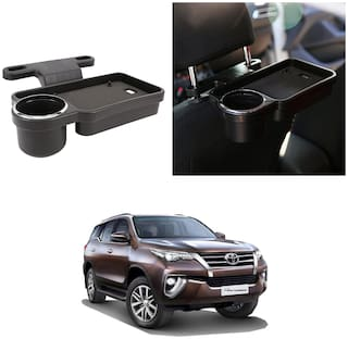 Oshotto Foldable Car Auto Headrest Rear Back Seat Table Drink Food Cup Tray Holder Compatible with Toyota Fortuner Old - Black