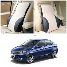 Oshotto Leatherite Finish Lumbar Support for Office Chair   Back Pillow for Car   Memory Foam Orthopedic Cushion - Provides Low Back Support Compatible with Tata Tigor (Beige;Black)