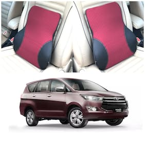 Oshotto Leatherite Finish Lumbar Support for Office Chair | Back Pillow for Car | Memory Foam Orthopedic Cushion - Provides Low Back SupportCompatible with Toyota Innova Crysta (Black;Red)