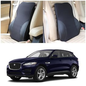 Oshotto Leatherite Finish Lumbar Support for Office Chair | Back Pillow for Car | Memory Foam Orthopedic Cushion - Provides Low Back Support Compatible with Jaguar F-PACE (Black)