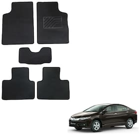 Oshotto/Matcon Carpet Foot mat for Honda City Idtech 2014 Onwards (Set of 5;Black)