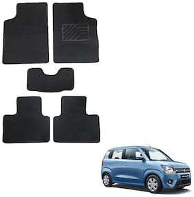 Oshotto/Matcon Carpet Foot mat for Maruti Wagon-R 2019 (Set of 5;Black)