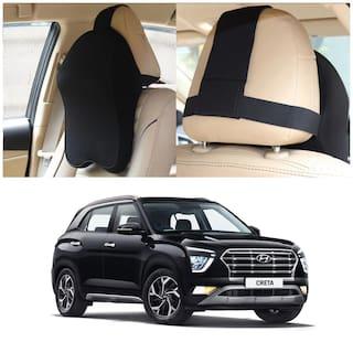 Oshotto Memory Foam, Air Fabric Car Seat Cushion, Head Rest Pillow to Protect Neck & Vertebra Compatible with Hyundai Creta 2020-2021 (Black)