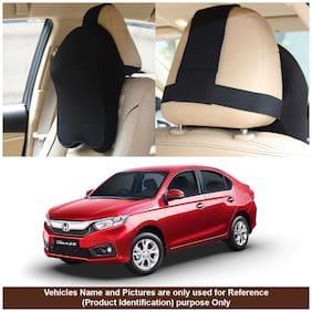 Oshotto Memory Foam, Air Fabric Car Seat Cushion, Head Rest Pillow to Protect Neck & Vertebra for Honda Amaze 2018-2021 (Black)