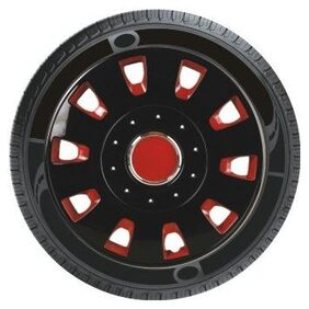 Oshotto Premium OSHO-WC53RB 12-inch Red and Black Double Paint Finish Universal Fitting-Push Type Car Wheel Cover (Set of 4)