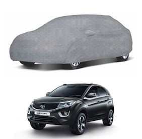 Oshotto/Recaro Dust Proof, Water Resistant Honeycomb Deisgn Grey Car Body Cover with Mirror Pockets for Tata Nexon