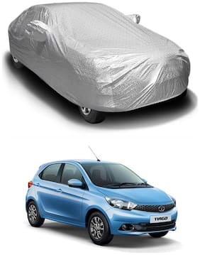 Oshotto/Recaro Spyro Silver Anti Reflective;dustproof and Water Proof Car Body Cover with Mirror Pockets Compatible with Tata Tiago