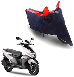 Oshotto/Recaro Dust Proof Double Mirror Pocket Taffeta Bike Body Cover Compatible For Tvs Ntorq 125 (Red;Blue)