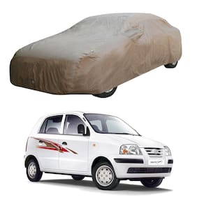 Oshotto/Recaro X1 Brown 100% Waterproof Car Body Cover with Mirror Pockets for Hyundai Santro Xing Old