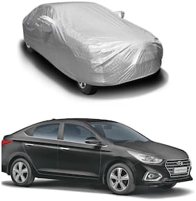 Oshotto/Recaro Spyro Silver Anti Reflective;dustproof and Water Proof Car Body Cover with Mirror Pockets Compatible with Hyundai Verna Old