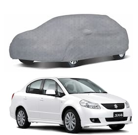 Oshotto/Recaro 100% Dust Proof, Water Resistant Honeycomb Design Grey Car Body Cover with Mirror Pocket for Maruti Sx4