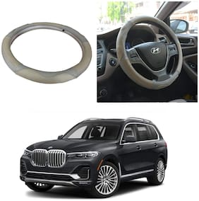 Oshotto SC-004 Leather Car Steering Cover Beige and Grey Colour Compatible with BMW X7