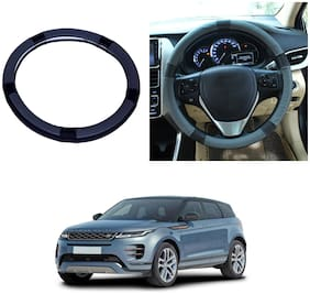 Oshotto SC-001 Leather Car Steering Cover Black and Grey Colour Compatible with Land Rover Range Rover Evoque