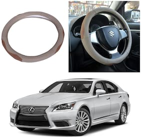 Oshotto SC-003 Leather Car Steering Cover Beige and Tan Colour Compatible with Lexus LS