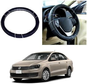 Oshotto SC-006 Leather Steering Cover Compatible For Volkswagen Vento/Ameo/Polo - Black