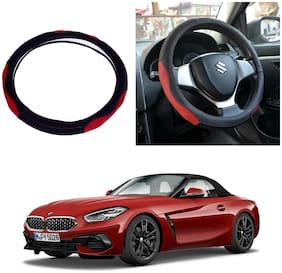 Oshotto SC-007 Leather Car Steering Cover Black and Red Colour Compatible with BMW Z4