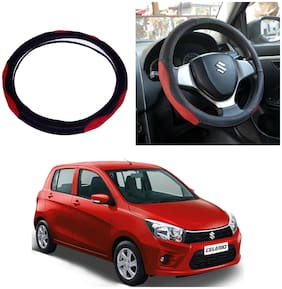 Oshotto SC-007 Leather Car Steering Cover Black and Red Colour Compatible with Maruti Suzuki Celerio