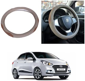 Oshotto SC-003 Leather Car Steering Cover Beige and Tan Colour Compatible with Hyundai Xcent