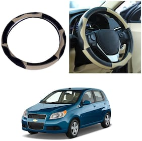 Oshotto SC-008 Leather Car Steering Cover Black and Beige Colour Compatible with Chevrolet Aveo