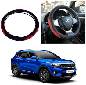 Oshotto SC-007 Leather Steering Cover Compatible with KIA Seltos (Black;Red)