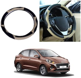 Oshotto SC-008 Genuine Leather Car Steering Cover Compatible with Hyundai Aura (Black Beige)