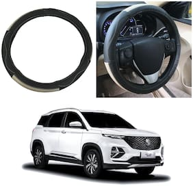 Oshotto SC-009 Leather Car Steering Cover Compatible with MG Hector Plus ( Multi)