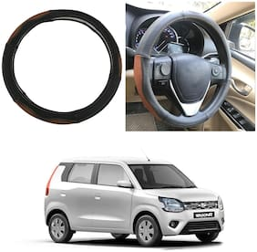 Oshotto SC-002 Leather Car Steering Cover Compatible with WagonR 2019-2021 (Black Tan)