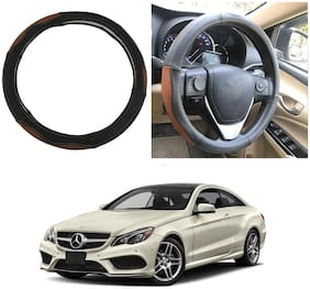 Oshotto SC-002 Leather Car Steering Cover Black and Tan Colour Compatible with Mercedes Benz E Class