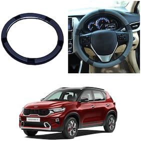 Oshotto SC-001 Leather Car Steering Cover Compatible with KIA Sonet (Black Grey)