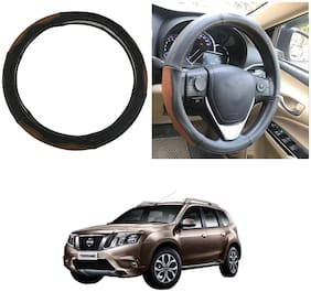 Oshotto SC-002 Leather Car Steering Cover Black and Tan Colour Compatible with Nissan Terrano
