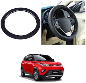 Oshotto SC-005 NSKU-035 Leather Steering Cover Compatible with Mahindra-KUV-100 (Black)