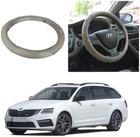 Oshotto SC-004 Leather Car Steering Cover Beige and Grey Colour Compatible with Skoda Octavia
