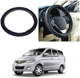 Oshotto SC-005 Leather Car Steering Cover Black Colour Compatible with Chevrolet Enjoy